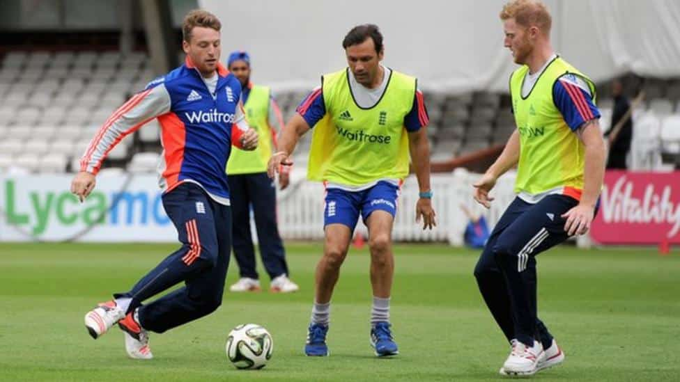 England's cricketers enjoy playing football before play