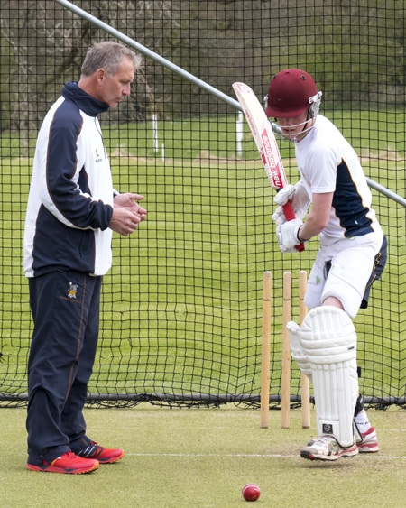 Martin Speight coaches Harry Brook at Sedbergh School