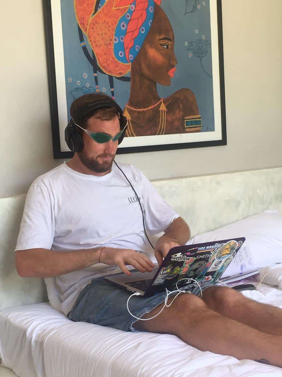 Rob Lewis working from home.