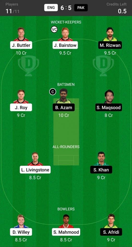 England vs Paksitan 2nd T20I Dream11 Fantasy Cricket Team