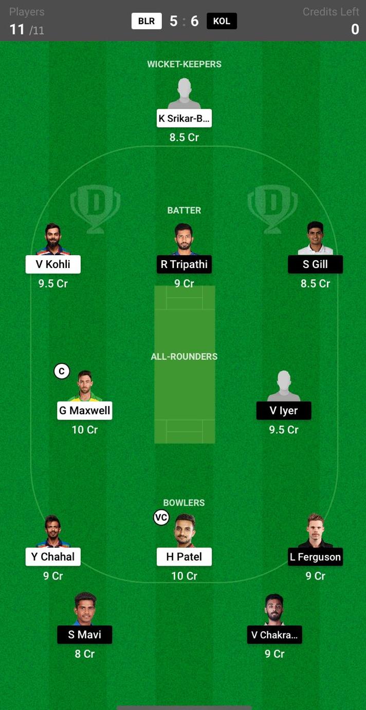 KKR vs RCB Dream11 Fantasy Cricket Team